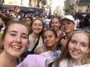 Young Kiwi Ambassadors celebrating with the French in Paris after the Football team won the World Cup.